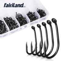 250 pcs/Lot 2 #4 #6 #8 #10 TFSH-K mixte crochet de pêche en acier à haute teneur en carbone hameçons de pêche enduits de téflon durable karpervissen boîte de matériel