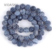 Natural Onyx Round Stone Beads Matte Frost Cracked Black Agates 4mm-12mm Loose For Jewelry Making Diy Necklace Charms 15