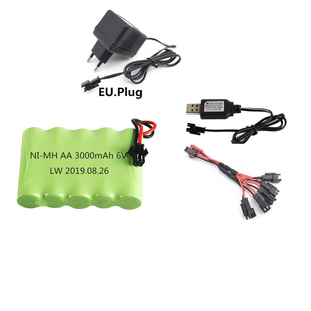 Batería AA NIMH de 6 V y 3000 mah para juguetes de control remoto, cargador de 6 V y 3000 mah para coche, camión, barco, tanque, Robot, pistola, piezas de repuesto de batería, sm