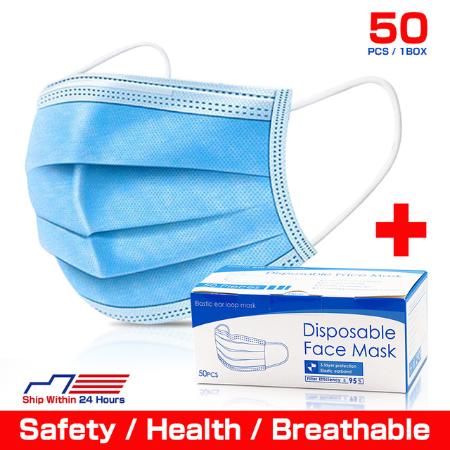 High quality Disposable face masks 3-Layer Anti bacterial Filtration Mascarillas Anti dust mask маска маски Safety shipping