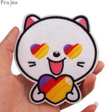 Prajna likee gato remendo dos desenhos animados ferro em remendos bordados para a roupa listras coração remendo do vinho bonito animal adesivos na roupa