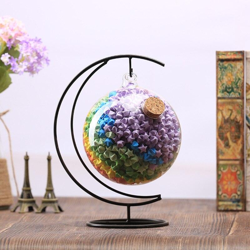 dobrável armazenamento de vidro luminoso decoração artesanato