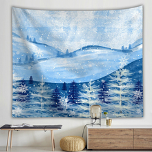 Snow Scene Printing Wall Cloth Tapestries Mountains Scenery Series Polyester Tapestry Home Decoration Travel Sleeping Pad