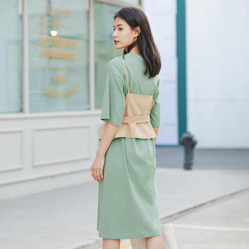 INMAN 2020 여름 새 Arriavl Dissymmetry 짧은 소매 드레스 투피스 드레스와 허리 양복 조끼