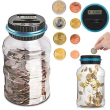1.8L Piggy Bank Counter Coin Electronic Digital LCD Counting Coin Money Saving Box Jar Coins Storage Box For USD EURO Money mini portable counter machine multi paper currency handy cash money counter counting machine equipment
