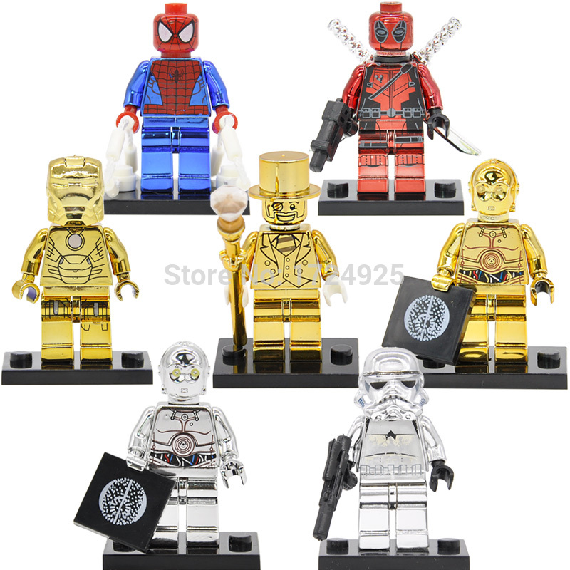 Single Sale Mr Gold Figure Chrom C3PO Deadpool Spiderman Iron Man Golden Building Blocks Sets Models Bricks Toys