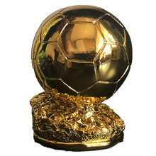 Soccer Trophy Foot-Ball Souvenirs Gift Resin for MVP Fans Award-Model High-Gold-Plated