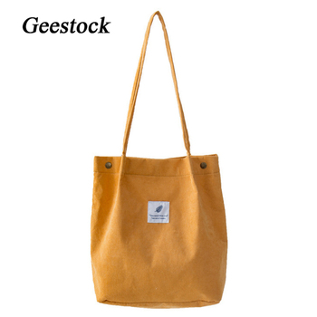 Geestock Women  Corduroy Shoulder Bags Large Capacity Handbags Shopping Bag Reusable Eco Storage Pouch Books bag Foldable Totes 2020 women s bags beach corduroy casual totes bag girl women shoulder bag handbags big capacity shopping bags solid shopper