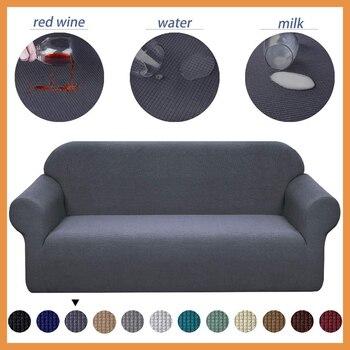 Funda elástica resistente al agua para sofá, cubierta de sofá de dos plazas, para sala de estar, Simple, Color sólido