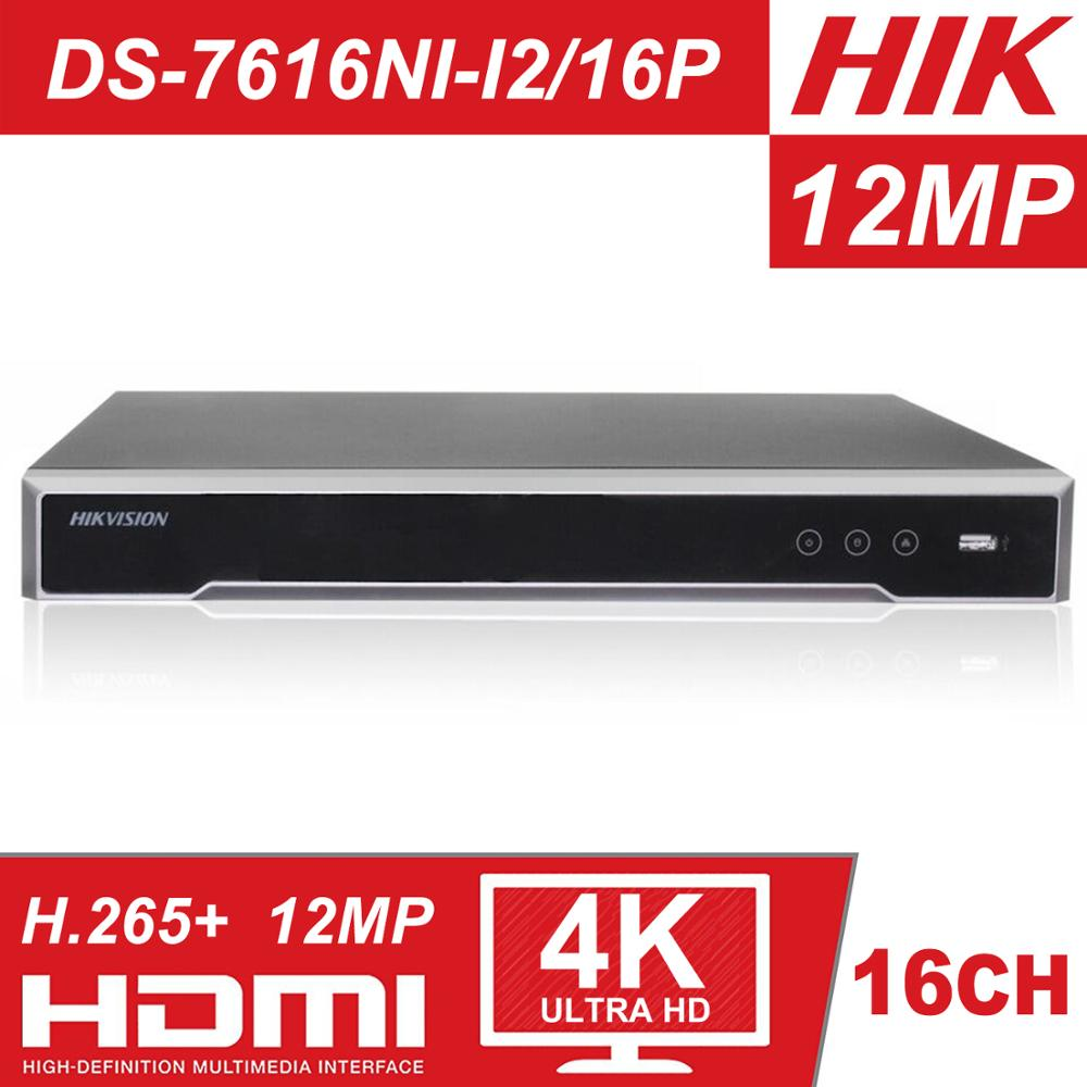 Original Hikvision NVR H.265 4K 16CH DS-7616NI-I2/16 P POE NVR Profissional para CCTV Sistema de Câmera HDMI VGA plug & Play NVR