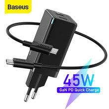 Chargeur USB Baseus GaN 45W PD chargeur rapide 4.0 3.0 double chargeur de téléphone USB pour Huawei Mate 10 pour ordinateur portable Samsung