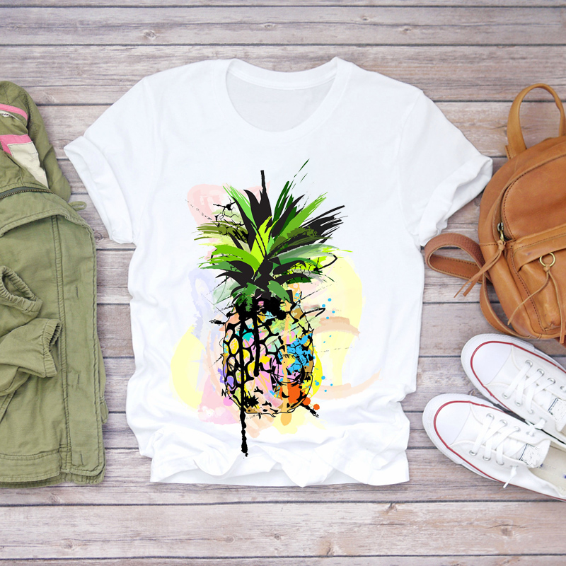 Women 2020 Summer Pineapple Watercolor Painting 90s Fruit Camisas Shirt Ladies Womens T-shirts Top T Graphic Female Tee T-Shirt