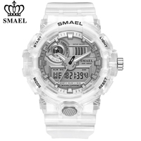 SMAEL-Relojes digitales para hombres, pulsera de mano impermeable, con correa de plástico de alta calidad, estilo deportivo masculino, pantalla dual, de marca