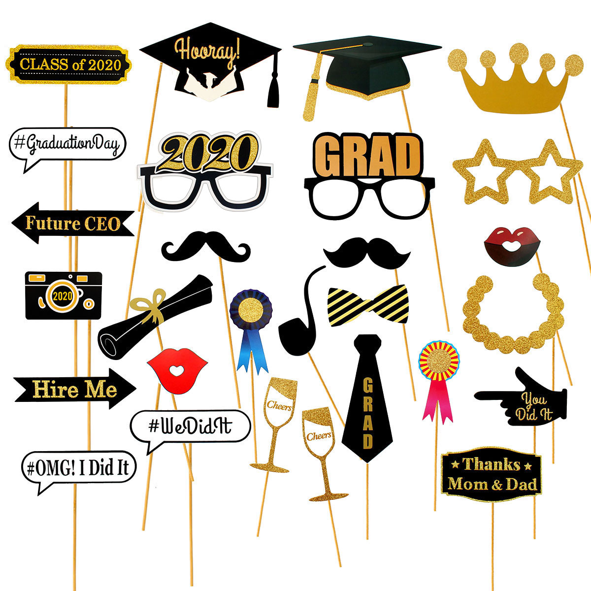 Heronsbill 28pcs Photo Booth Props Graduation Party Decoration 2020 Bachelor Cap Grad Congrats Graduated Supplies PhotoBooth