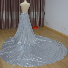 Wedding-Dress Detachable Skirt Train Bride Sequins Glitter Silver Custom-Size