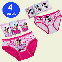 4Pcs/Lot Baby Girl Panties Cotton Kid Underwear Cute Underpants Minne Lace Teenage Cartoon Kids Panty Children Short Briefs