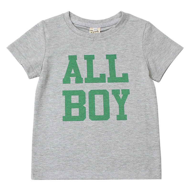 Kids Tee Shirt Toddler Children Boy Clothes Summer T Shirt For Boys Fashion Kids Short Sleeve Tops Cotton Letter T-shirt 1-8Y