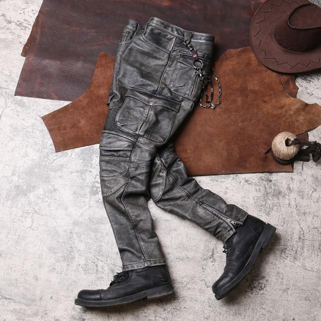 2020 Vintage Grey Men Biker's Leather Trousers Large Size XXXXL Genuine Cowhide Autumn Slim Fit Motorcycle Leather Pants 2