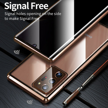 Anti peeping privacy Glass case for Samsung Galaxy Note 20 Ultra case Metal Magnetic case for Samsung Note 20 360 full cover