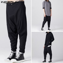 INCERUN Men Black Loose Harem Pants Streetwear Men Buttons Sweatpants Male Streetwear Casual Mens Solid Color Trousers S-5XL