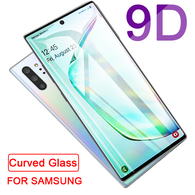 9D Curved Protective Tempered Glass On For Samsung Galaxy Note 10 Pro S 8 9 S10 Lite 5G S10e S7 Edge S8 S9 Plus Screen Protector
