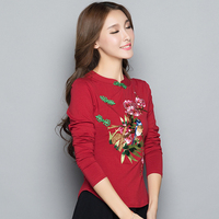 KYQIAO ropa mujer women tops spring Mexico style vintage ethnic stand collar handmade button red black embroidery shirt