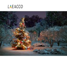 Laeacco Winter Snow  Rural House Christmas Tree Night Scenic Photography Backgrounds Photographic Backdrops For Photo Studio