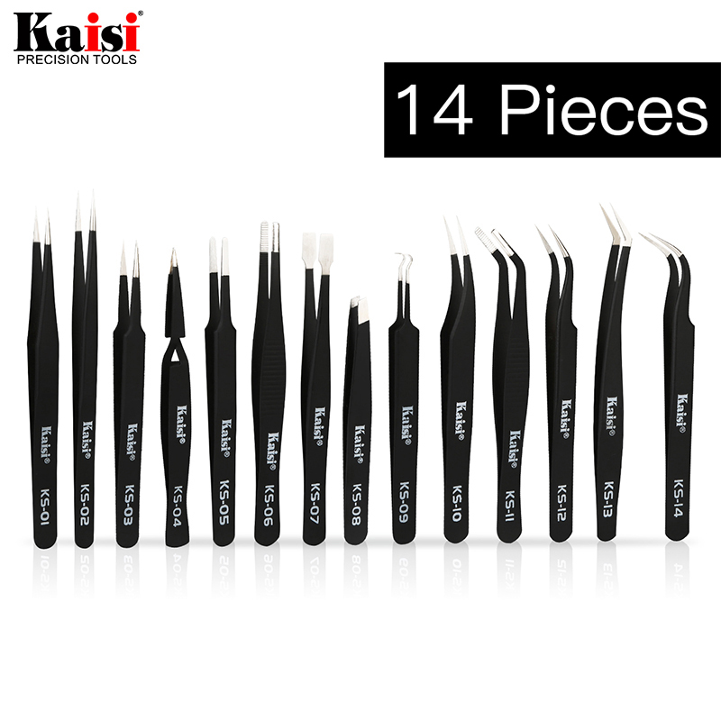 14pcs ESD Tweezers Set Stainless Steel Precision Repair Tweezers For Electronic Mobile Phone Repair Tools Kit Blackhead Removal