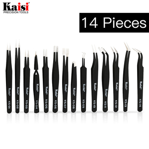 14pcs ESD Tweezers set stainless steel Precision Repair Tweezers for Electronic Mobile Phone Repair Tools Kit blackhead removal(China)
