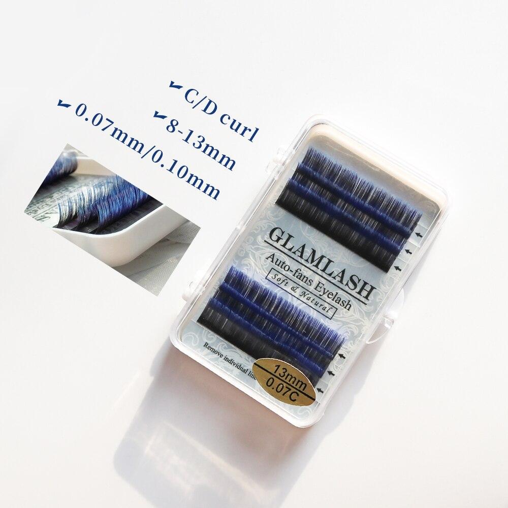 GLAMLASH Eyelashes Mink Lashes Ombre Color Purple Blue Gradient Color Eyelash Extension Premium Faux Cils Soft Mink Makeup Tool