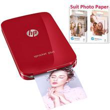 Hp sprocket mais impressora de fotos portátil para 5*7.6cm (2x3 inch) papel de foto zink pegajoso apoiado fácil de imprimir fotos de mídia social