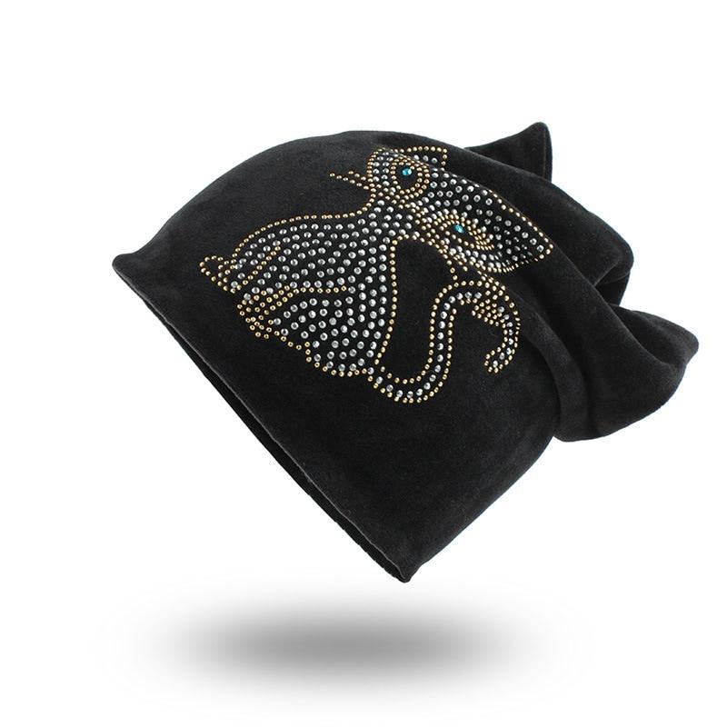 Women 's Beanies Diamond Solid Warm Winter Female Hat Cat Ears Beanie Hat Flannel Solid Color Hat Casquette Head Cap Soft Bonnet