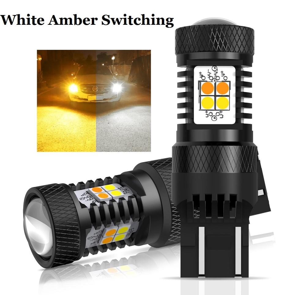 2Pcs White Amber Switchback T20 7443 W21/5W W21W LED Bulb T25 3157 3156 P27/7W Car Turn Signal DRL Daytime Running Light 12V image