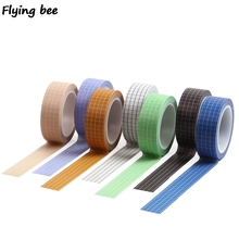 Flyingbee 15mmX10m Paper Washi Tape Solid color grid Adhesive DIY Scrapbooking Sticker Label Masking X0476