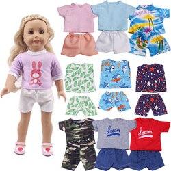 Купоны! Кукольные аксессуары, комплект одежды = футболка + шорты для куклы 16-18 дюймов для девочек и 43 см кукла для новорожденных, наше поколен...