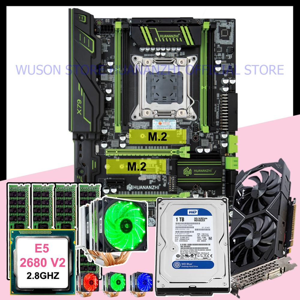HUANANZHI X79 Pro motherboard combo Xeon E5 <font><b>2680</b></font> V2 with cooler RAM 32G(4*8G) video card GTX1050Ti 4G 1TB SATA HDD image