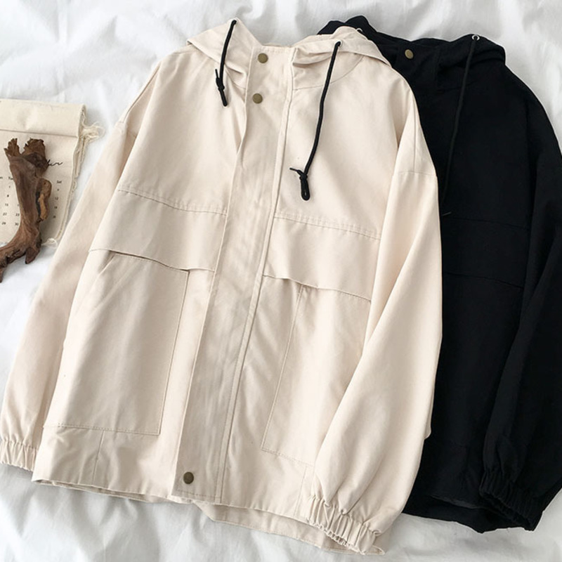 Spring Autumn Loose Long Jacket Female Harajuku Safari Style BF Style Fashion Jacket Female Black Apricot Vintage Tops Outwear