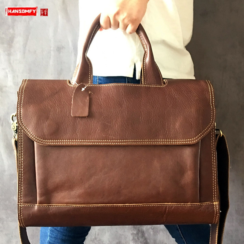 Genuine Leather Men's Briefcase Diagonal Cross Shoulder Bag Male Handbag Messenger Bags Business Men 14 Inch Laptop Briefcases