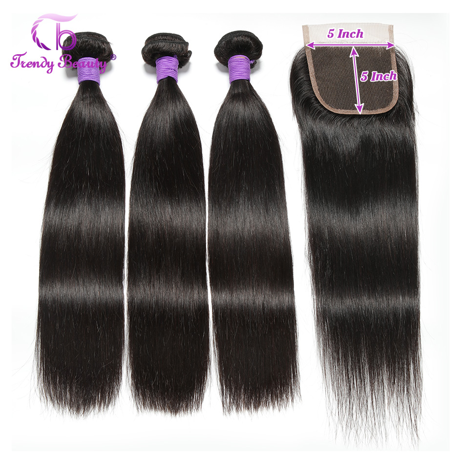 Trendy Beauty Peruvian Straight Hair 3 Bundles With Lace Closure 5X5 Inches Human Hair Weave Bundles