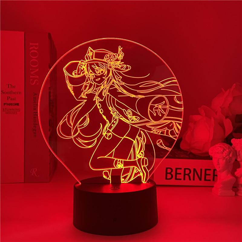 Genshin Impact Night Light 3D Illusion Lamp Hot Game  Light for Bedroom Decor LED Light Atmosphere Bedside Night Lamps Kids Gift