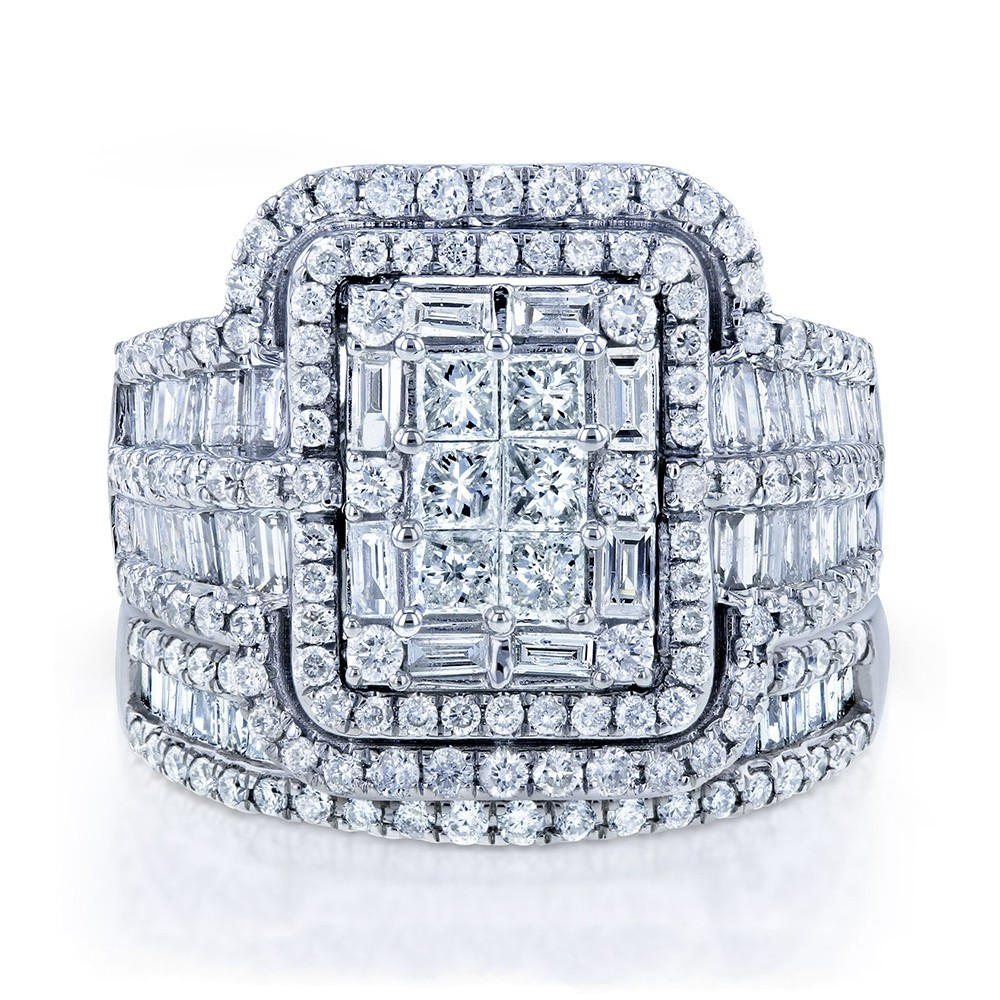Luxury Female White Crystal Stone Ring Set Big Silver Color Wedding Rings For Women Vintage Bridal Small Square Engagement Ring