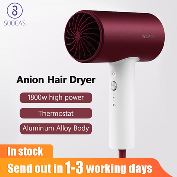 Soocas H3/H3S Anion Hair Dryer 1800W Mijia Aluminum Alloy Body Air Outlet Anti-Hot Innovative Diversion Design Barber Dryer