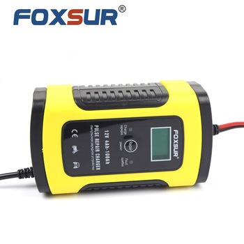 цена на FOXSUR 12V 5A Pulse Repair Charger with LCD Display, Motorcycle & Car Battery Charger, 12V AGM GEL WET Lead Acid Battery Charger