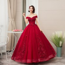Quinceanera-Dresses Lace Party The-Shoulder Vintage 15-Anos Luxury 4-Colors Vestidos