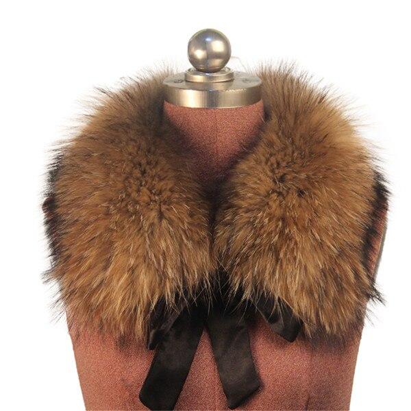 Женский шарф теплый подарок из меха енота ожерелья для куртки шарфы Banand Schal теплый натуральный зимний меховой шарф для женщин - Цвет: Natural color ribbon