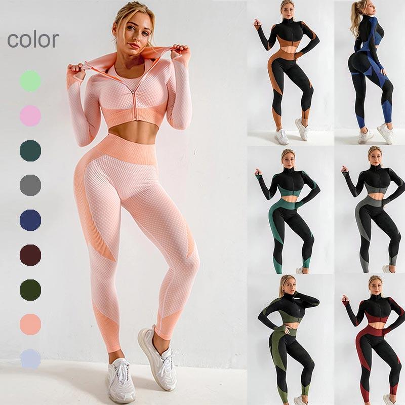 Женский бесшовный комплект для йоги, спортивная одежда для тренировок, одежда для спортзала, укороченный топ с длинным рукавом, леггинсы с в...