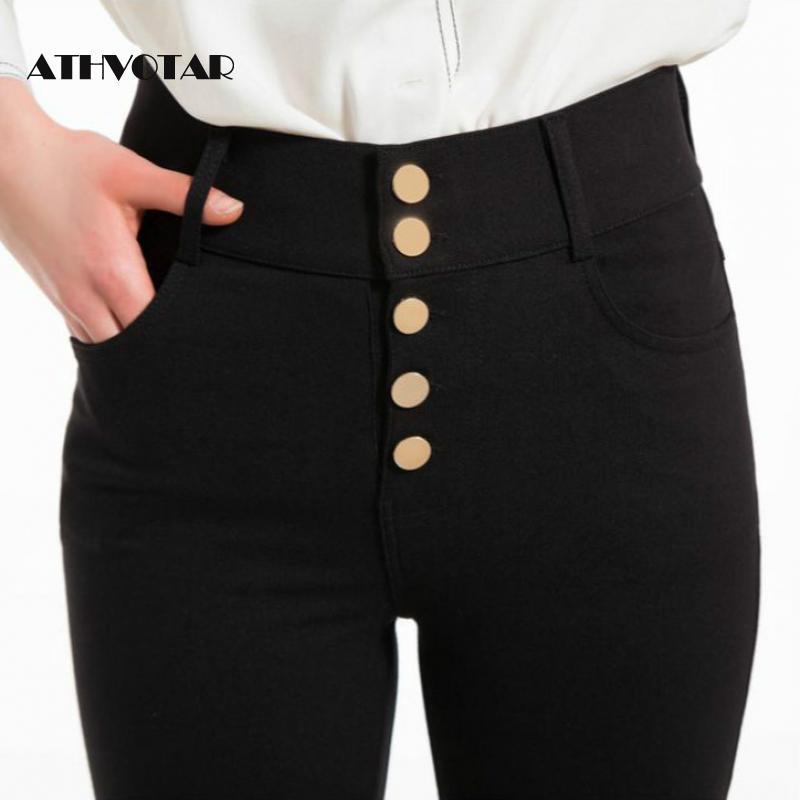 Athvotar Pantalones Elasticos De Cintura Alta Para Mujer Pantalon Negro Cargo De Talla Grande 6xl Ropa De Calle Para Oficina E Invierno Pantalones Y Pantalones Capri Aliexpress