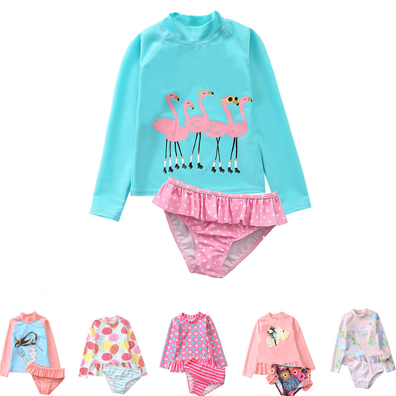 Flamingo Swimsuit Set 2019 Girls' 2-Piece Sun Protection Rash Guard Set Kids Girl Beach Long Sleeve Swim Shirt And Shorts Set