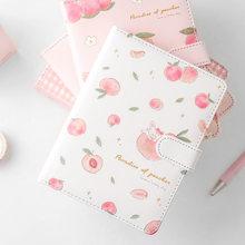 Kawaii różowa brzoskwinia pamiętnik śliczny terminarz dla studentów etui z PU magnetyczne Agenda kolorowe wewnętrzne strony czasopisma biurowe zeszyty
