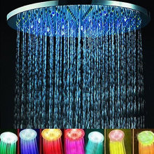 LED Rainfall Shower 7 Colors Automatic Changing 8 Round Bathroom LED Light Rain Top Single Round Bathroom Shower Head hydropower square led color changing shower head for bathroom